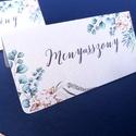 Esküvői ültetőkártya, ültető, natúr, természetközeli, greenery, ültetésirend, hely kártya, esküvői dekoráció, rusztikus, Esküvő, Naptár, képeslap, album, Meghívó, ültetőkártya, köszönőajándék, Esküvői dekoráció, Fotó, grafika, rajz, illusztráció, Papírművészet, Igényes, sátras, két oladalas asztali ültetőkártya  öszzehajtva: kb: 4.2x9.5cm  Egyszeri szerkeszté..., Meska