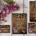 Levendula Virágos Esküvői meghívó, Pajta Esküvő, falu, Vintage Esküvői lap, vad virág, Rusztikus, Bohém, Esküvő, Naptár, képeslap, album, Meghívó, ültetőkártya, köszönőajándék, Esküvői dekoráció, Minőségi Virágos Esküvői  Meghívó  Meghívó CSOMAG 5 lapos szett : * BORÍTÉKKAL*  * Meghívó lap, egy ..., Meska