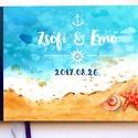 Nautical Emlékkönyv, Esküvői Vendéggkönyv, tenger, homok, kagyló, nyaralás, holiday, tengerész, Esküvő, könyv, napló,, Esküvő, Naptár, képeslap, album, Esküvői dekoráció, Nászajándék, Esküvői  A5-ös Emlékkönyv.  Gyönyörű Igényes Esküvői Emlékkönyv, A5-ös méret, 70 prémium lapos (140-..., Meska