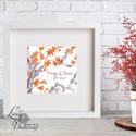 Őszi dekoráció, őszi falikép, őszi falevelek, levél festmény, őszi kép, levél falikép, dekor, japán, cseresznyefa virág, Dekoráció, Esküvő, Dísz, Kép, Őszi kép, Print, Nyomtatott lap, Keret nélkül 30x30cm. Egyéb méret is kérhető.  Bármilyen szöveggel,..., Meska