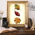 Őszi dekoráció, őszi falikép, őszi falevelek, levél festmény, őszi kép, levél falikép, dekor, tök , Dekoráció, Dísz, Kép, Ünnepi dekoráció, Őszi kép, Print, Nyomtatott lap, Keret nélkül A4-es méretben.  Gyönyörű Őszi dekoráció konyhába, nap..., Meska