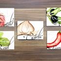 Konyhai falikép, konyha dekoráció, Olasz fűszer, Zöldség festmény, zöldségek, paradicsom, oliva, paprika, hagyma,kitchen, Dekoráció, Konyhafelszerelés, Férfiaknak, Konyhafőnök kellékei,  A4/-es méretű 5 darabos szett nyomtatott konyha dekor képek, Print lapok.   A nyomatok saját festmé..., Meska