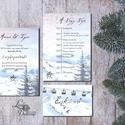 Téli meghívó, Téli Esküvő, Hó, Hópehely, Télitáj, Karácsonyi meghívó, karácsonyi képeslap, lap, december, fenyő, , Esküvő, Naptár, képeslap, album, Meghívó, ültetőkártya, köszönőajándék, Képeslap, levélpapír, Minőségi Virágos Esküvői  Meghívó  * MEGHÍVÓ CSOMAG BORÍTÉKKAL: - 1.  -Meghívó lap, egy oldalas: kb...., Meska