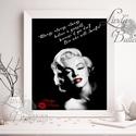 Marilyn Monroe, A1 Poszter, Retro Poster, Retro kép, Amerikai, Vintage, Idézet, csók, Sexy, piros, vörös, modern, Dekoráció, Férfiaknak, Kép, Legénylakás, Festészet, Fotó, grafika, rajz, illusztráció, A1-es méretű Marilyn Monroe Idézet, Retro Print  Retro motívációs dekoráció print  250 gsm matt, vá..., Meska