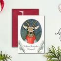 Karácsonyi Képeslap, Vintage karácsony, Állatos, Adventi üdvözlőlap, Ünnepi lap, hó, klasszikus, medve, róka, szarvas, Naptár, képeslap, album, Dekoráció, Ajándékkísérő, Képeslap, levélpapír, Fotó, grafika, rajz, illusztráció, Mindenmás, A/6-os méretű Igényes kinyitható Egyedi Karácsonyi képeslap, minőségi művészpapíron prémium boríték..., Meska
