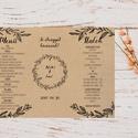 Natúr Barna Menü, Asztalszám, kraft, spárga, Itallap, Esküvői lap, Esküvői menü, rózsaszín menü, Party menü, rusztikus, Esküvő, Naptár, képeslap, album, Meghívó, ültetőkártya, köszönőajándék, Esküvői dekoráció, Esküvői Menü Háromszög Spárgával kötve  Álló 3szög forma  Szerkesztési költség 2000 Ft Az egyszeri s..., Meska