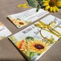 Pénzátadó boríték, Napraforgó, Nászajándék, Gratulálunk képeslap, Esküvői Gratuláció, zöld, rét, pénz átadó lap, sárga,, Esküvő, Naptár, képeslap, album, Nászajándék, Meghívó, ültetőkártya, köszönőajándék, NÁSZAJÁDÉK SZETT  Igényes Egyedi Személyre szóló Pénz Átadó Zsebes Boríték Szalaggal átkötve.  + Ajá..., Meska
