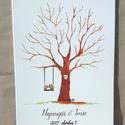 Esküvői ujjlenyomatfa, vászon kép Esküvői fa, vendégkönyv, Fa festmény, Esküvői dekor, emlkékkönyv, nászajándék, Esküvő, Esküvői dekoráció, Meghívó, ültetőkártya, köszönőajándék, Nászajándék, 60x40 cm Esküvői ujjlenyomat fa feszített vásznon.  Modern esküvői vendégkönyv.  Legyen egy életre s..., Meska