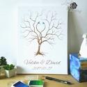 Esküvői ujjlenyomatfa, vászon kép Esküvői fa, vendégkönyv, Fa festmény, Esküvői dekor, emlkékkönyv, nászajándék, 30x40cm Feszített Vászon Ujjlenyomat FA  Modern ...