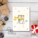 Egyedi Karácsonyi Képeslap, Bagoly, Vintage karácsonyi, Adventi üdvözlőlap, Ünnepi lap, hó, klasszikus, hópihe, Minőségi Kinyitható Képeslap  * MÉRET:  Félb...