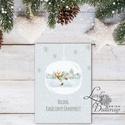 Egyedi Karácsonyi Képeslap, Szarvas, Vintage karácsonyi, Adventi üdvözlőlap, Ünnepi lap, hó, rénszarvas, hópihe, téli, Dekoráció, Ünnepi dekoráció, Karácsonyi, adventi apróságok, Ajándékkísérő, képeslap, Fotó, grafika, rajz, illusztráció, Mindenmás, Minőségi Kinyitható Képeslap  * MÉRET:  Félbehajtva: kb.: A6  * KIVITELEZÉS: Lekerekített sarkok, b..., Meska