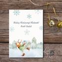 Egyedi Karácsonyi Képeslap, Szarvas, Vintage karácsonyi, Adventi üdvözlőlap, Ünnepi lap, hó, rénszarvas, hópihe, téli, Dekoráció, Ünnepi dekoráció, Karácsonyi, adventi apróságok, Ajándékkísérő, képeslap, Minőségi Kinyitható Képeslap  * MÉRET:  Félbehajtva: kb.: A6  * KIVITELEZÉS: Lekerekített sarkok, be..., Meska