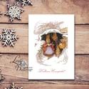 Karácsonyi Képeslap, Vintage, Állatos, Nyuszis, Cuki, Adventi, nyúl, üdvözlőlap, Ünnepi lap, hó, klasszikus, Dekoráció, Ünnepi dekoráció, Karácsonyi, adventi apróságok, Ajándékkísérő, képeslap, Minőségi Kinyitható Képeslap  * MÉRET: Félbehajtva: kb.: A6  * KIVITELEZÉS: Lekerekített sarkok, bel..., Meska