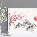 Japán kép, Keleti dekoráció, Falikép, japán fametszet, Fuji, Himalaya, kína, otthoni, bonsai, cseresznyefa, festmény, Otthon, lakberendezés, Dekoráció, Falikép, Kép, A4 Minőségi Print, Nyomtatás  * KERET NÉLKÜL! *  * MÉRET: A4 (210mm x 297mm) Egyéb sztandard képkere..., Meska
