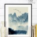 Japán kép, Keleti dekoráció, Falikép, japán fametszet, Fuji, Himalaya, kína, táj, fenyves, hegyek, köd, madár festmény, Otthon, lakberendezés, Dekoráció, Falikép, Kép, A4 Minőségi Print, Nyomtatás  * KERET NÉLKÜL! *  * MÉRET: A4  Egyéb sztandard képkeret méret is kérh..., Meska