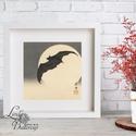 Japán kép, Keleti dekoráció, Falikép, japán fametszet, denevér, hold, őszi kép, halloween, kína, otthoni, festmény, Otthon, lakberendezés, Dekoráció, Falikép, Kép, 20x20 cm Minőségi Print, Nyomtatás  * KERET NÉLKÜL! *  * MÉRET: 20 x 20cm  * ANYAG:  250g-os kiváló ..., Meska