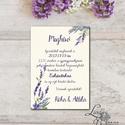 Levendula Esküvői meghívó, Vintage meghívó, Levendula lila, Esküvői lap, lila virágos lap, levendula meghívó, Esküvő, Naptár, képeslap, album, Meghívó, ültetőkártya, köszönőajándék, Képeslap, levélpapír, Minőségi  Esküvői  Meghívó  * MEGHÍVÓ CSOMAG BORÍTÉKKAL: - Meghívó egy lap, egy oldalas: kb.: 14cm x..., Meska