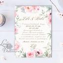 Virágos Esküvői meghívó, Virágos Esküvői lap, Esküvő Képeslap, rózsa lap, virágkoszorú, pink, bazsarózsa, rózsás, Minőségi Virágos Esküvői  Meghívó  * MEGHÍ...