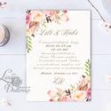 Virágos Esküvői meghívó, Virágos Esküvői lap, Esküvő Képeslap, rózsa lap, virágkoszorú, pink, bazsarózsa, rózsás, Esküvő, Naptár, képeslap, album, Meghívó, ültetőkártya, köszönőajándék, Képeslap, levélpapír, Minőségi Virágos Esküvői  Meghívó  * MEGHÍVÓ CSOMAG: - Meghívó egy lap, egy oldalas: kb.: 14cm x 10c..., Meska