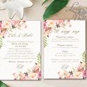 Virágos Esküvői meghívó, Virágos Esküvői lap, Esküvő Képeslap, rózsa lap, virágkoszorú, pink, bazsarózsa, rózsás, Esküvő, Naptár, képeslap, album, Meghívó, ültetőkártya, köszönőajándék, Képeslap, levélpapír, Minőségi Esküvői Virágos Meghívó  * MEGHÍVÓ CSOMAG: - Meghívó lap, DUPLA oldalas: kb.: 14.3cmx10.2cm..., Meska