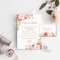 Virágos Esküvői meghívó, Virágos Esküvői lap, Esküvő Képeslap, rózsa lap, virágkoszorú, pink, bazsarózsa, rózsás, Esküvő, Naptár, képeslap, album, Meghívó, ültetőkártya, köszönőajándék, Képeslap, levélpapír, Minőségi Virágos Esküvői  Meghívó  * MEGHÍVÓ CSOMAG BORÍTÉKKAL: - 1.  Meghívó lap, egy oldalas: (A6 ..., Meska