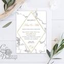 Geometrikus Modern Esküvői meghívó, Márvány meghívó, marble, arany, geometriai forma, Esküvői lap, rombusz, krém, gold, Esküvő, Naptár, képeslap, album, Meghívó, ültetőkártya, köszönőajándék, Képeslap, levélpapír, Minőségi  Esküvői  Meghívó  * MEGHÍVÓ CSOMAG BORÍTÉKKAL: - Meghívó egy lap, egy oldalas: kb.: 14cm x..., Meska
