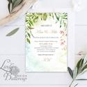 Greenery Meghívó, Esküvői meghívó, Természet közeli, natúr, vízfesték, Esküvői kártya, virágos, rét, vadvirág, zöld, Esküvő, Naptár, képeslap, album, Meghívó, ültetőkártya, köszönőajándék, Képeslap, levélpapír, Minőségi  Esküvői  Meghívó  * MEGHÍVÓ CSOMAG BORÍTÉKKAL: - Meghívó egy lap, egy oldalas: kb.: 14cm x..., Meska