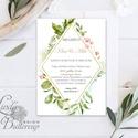 Greenery Meghívó, GeometrikusEsküvői meghívó, Természetközeli, natúr, vízfesték, Esküvői kártya, virágos, vadvirág, zöld, Esküvő, Naptár, képeslap, album, Meghívó, ültetőkártya, köszönőajándék, Képeslap, levélpapír, Minőségi  Esküvői  Meghívó  * MEGHÍVÓ CSOMAG BORÍTÉKKAL: - Meghívó egy lap, egy oldalas: kb.: 14cm x..., Meska