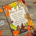 Őszi Esküvői meghívó, Rusztikus Esküvő, Vintage Esküvő, Bohém Esküvői képeslap, rusztikus, őszi levelek, Esküvő, Naptár, képeslap, album, Meghívó, ültetőkártya, köszönőajándék, Képeslap, levélpapír, Minőségi Esküvői Meghívó  * MEGHÍVÓ BORÍTÉKKAL * Meghívó lap, egy oldalas: kb.: 14.3cmx10.2cm (A6 mé..., Meska