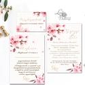 Cseresznyevirágos Esküvői meghívó, Virágos Esküvői lap, Esküvő Képeslap, pink, pasztell, arany, cseresznye fa virág, Esküvő, Naptár, képeslap, album, Meghívó, ültetőkártya, köszönőajándék, Képeslap, levélpapír, Minőségi Virágos Esküvői  Meghívó  * MEGHÍVÓ CSOMAG BORÍTÉKKAL: - 1.  -Meghívó lap, egy oldalas: kb...., Meska