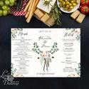 Esküvői Menü, Rusztikus esküvői dekoráció, greenery, eukaliptusz, natúr,menüsor, itallap, italok, asztalszám, Party menü, Esküvő, Dekoráció, Meghívó, ültetőkártya, köszönőajándék, Esküvői dekoráció, Esküvői Álló Háromszög Menü Szalaggal vagy spárgával kötve  Gyönyörű Igényes Esküvői Menükártya  3-s..., Meska