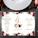 Esküvői Menü, Rusztikus esküvői dekoráció, bordó, arany, rózsás, natúr, menüsor, itallap, italok, asztalszám, őszirózsa, Esküvő, Dekoráció, Meghívó, ültetőkártya, köszönőajándék, Esküvői dekoráció, Esküvői Álló Háromszög Menü Szalaggal vagy spárgával kötve  Gyönyörű Igényes Esküvői Menükártya  3-s..., Meska