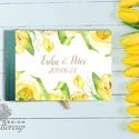 Esküvői Emlékkönyv, sárga tulipán, tavasz, Arany, Vendégkönyv, könyv, elegáns, zöld, Esküvői vendégkönyv, tulip, Esküvő, Naptár, képeslap, album, Nászajándék, Esküvői dekoráció, Esküvői A5-ös Emlékkönyv.  Gyönyörű Igényes Esküvői Emlékkönyv, A5-ös méret, 70 prémium lapos (140-o..., Meska
