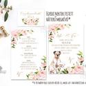 EGYEDI FESTETT HÁTTERŰ KUTYÁS Esküvői meghívó, Virágos, Romantikus, Elegáns, festmény, kutya, cica, állatos rajz, design, Esküvő, Naptár, képeslap, album, Meghívó, ültetőkártya, köszönőajándék, Képeslap, levélpapír, Egyedi Festett Hátterű Minőségi Esküvői Meghívó  Szeretnéd, hogy az esküvő vagy első randevútok hely..., Meska