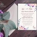 Dusty Rose, Lavender meghívó, Esküvői meghívó, Vintage stílusú, Lila Virágos meghívó, barack rózsa meghívó, eukaliptusz, Esküvő, Naptár, képeslap, album, Meghívó, ültetőkártya, köszönőajándék, Képeslap, levélpapír, Minőségi  Esküvői  Meghívó  * MEGHÍVÓ CSOMAG BORÍTÉKKAL: - Meghívó egy lap, egy oldalas: kb.: 14cm x..., Meska
