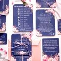 Elegáns Esküvői meghívó, Nyári Esküvő, Tenger kék meghívó, Barack virágok, nyári virágos meghívó, Modern, Esküvő, Naptár, képeslap, album, Meghívó, ültetőkártya, köszönőajándék, Képeslap, levélpapír, Minőségi Virágos Esküvői  Meghívó  Meghívó CSOMAG 5 lapos szett : * Meghívó lap, egy oldalas : 14.3c..., Meska