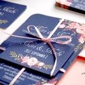 Elegáns Esküvői meghívó, Nyári Esküvő, Tenger kék meghívó, Barack virágok, nyári virágos meghívó, Modern, Esküvő, Naptár, képeslap, album, Meghívó, ültetőkártya, köszönőajándék, Képeslap, levélpapír, Minőségi Virágos Esküvői  Meghívó  * MEGHÍVÓ CSOMAG BORÍTÉKKAL: - 1.  -Meghívó lap, egy oldalas: kb...., Meska