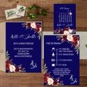 Kék Esküvői meghívó, Bordó meghívó, Nyári Esküvő, Tenger kék meghívó, Barack virágok, virágos meghívó, Modern, navy, Esküvő, Naptár, képeslap, album, Meghívó, ültetőkártya, köszönőajándék, Képeslap, levélpapír, Minőségi Virágos Esküvői  Meghívó  * MEGHÍVÓ CSOMAG BORÍTÉKKAL: - 1.  -Meghívó lap, egy oldalas: kb...., Meska