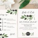 Greenery Meghívó, olívabogyó,  zöld Esküvői meghívó, eukaliptusz, zöld leveles, levél, natúr meghívó, természetközeli, Esküvő, Naptár, képeslap, album, Meghívó, ültetőkártya, köszönőajándék, Képeslap, levélpapír, Minőségi Esküvői Virágos Meghívó  * MEGHÍVÓ CSOMAG: - Meghívó lap, DUPLA oldalas nyomtatással: kb.: ..., Meska