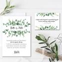 Greenery Meghívó, zöld Esküvői meghívó, eukaliptusz, silver coin, zöld leveles, levél, natúr meghívó, természetközeli, Esküvő, Naptár, képeslap, album, Meghívó, ültetőkártya, köszönőajándék, Képeslap, levélpapír, Minőségi Virágos Esküvői  Meghívó  * MEGHÍVÓ CSOMAG BORÍTÉKKAL: - 1.  Meghívó lap, egy oldalas: 10cm..., Meska