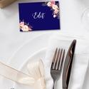 Esküvői ültető kártya, ültetők, ültető, köszönjük lap, köszönetajándék, ajándékkísérő, kék virágos, köszönetkártya, Esküvő, Meghívó, ültetőkártya, köszönőajándék, Esküvői dekoráció, Nászajándék, Kék Ültetőkártya  Kis-kártya mérete: kb. : 5.3x7.5cm,   Szerkesztési költség: 2.000ft  minimum rende..., Meska