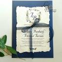 Címeres Esküvői meghívó, Monogram meghívó, kék meghívó, virágos meghívó, vízfesték hatású, címer, merített papír, Esküvő, Naptár, képeslap, album, Meghívó, ültetőkártya, köszönőajándék, Képeslap, levélpapír, Minőségi Esküvői Meghívó   ** MEGHÍVÓ BORÍTÉKKAL ** -  Meghívó lap, egy oldalas: hátulja üres (kicsi..., Meska