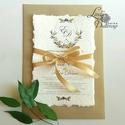 Címeres Esküvői meghívó, Monogram meghívó, arany meghívó, virágos meghívó, vízfesték hatású, címer, merített papír, Esküvő, Naptár, képeslap, album, Meghívó, ültetőkártya, köszönőajándék, Képeslap, levélpapír, Minőségi Esküvői Meghívó   ** MEGHÍVÓ BORÍTÉKKAL ** -  Meghívó lap, egy oldalas: hátulja üres (kicsi..., Meska