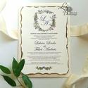 Címeres Esküvői meghívó, Monogram meghívó, arany meghívó, virágos meghívó, vízfesték hatású, címer, égetett szélű, Esküvő, Naptár, képeslap, album, Meghívó, ültetőkártya, köszönőajándék, Képeslap, levélpapír, Minőségi Esküvői Meghívó   ** MEGHÍVÓ BORÍTÉKKAL ** -  Meghívó lap, egy oldalas: hátulja üres (kicsi..., Meska