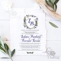 Címeres Esküvői meghívó, Monogram meghívó, kék meghívó, virágos meghívó, vízfesték hatású, címer, merített papír, Esküvő, Naptár, képeslap, album, Meghívó, ültetőkártya, köszönőajándék, Képeslap, levélpapír, Minőségi Esküvői Meghívó MERÍTETT PAPÍRON  ** MEGHÍVÓ BORÍTÉKKAL ** -  Meghívó lap, egy oldalas: hát..., Meska