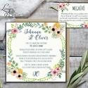 Rusztikus Esküvői meghívó, Vintage meghívó, Bohém, Rusztikus Esküvői lap, tavaszi, virágos meghívó, Esküvő, Naptár, képeslap, album, Meghívó, ültetőkártya, köszönőajándék, Képeslap, levélpapír, Minőségi Virágos Esküvői  Meghívó  * MEGHÍVÓ CSOMAG BORÍTÉKKAL: 1. Meghívó lap, egy oldalas nyomtatá..., Meska