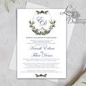 Címeres Esküvői meghívó, Monogram meghívó, arany meghívó, virágos meghívó, vízfesték hatású, címer, natúr, letisztult, Esküvő, Naptár, képeslap, album, Meghívó, ültetőkártya, köszönőajándék, Képeslap, levélpapír, Minőségi  Esküvői  Meghívó  * MEGHÍVÓ CSOMAG BORÍTÉKKAL: - Meghívó egy lap, egy oldalas: kb.: 14cm x..., Meska
