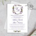 Címeres Esküvői meghívó, Monogram meghívó, lila meghívó, virágo, vízfesték hatású, címer, natúr, virágkoszorú, Esküvő, Naptár, képeslap, album, Meghívó, ültetőkártya, köszönőajándék, Képeslap, levélpapír, Minőségi Esküvői Meghívó   ** MEGHÍVÓ BORÍTÉKKAL ** -  Meghívó lap, egy oldalas: hátulja üres (méret..., Meska