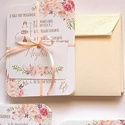 Elegáns, romantikus Esküvői meghívó,Nyári Esküvő, Arany meghívó, Barack virág, virágos meghívó, Modern, Rózsás, Rózsa, Esküvő, Naptár, képeslap, album, Meghívó, ültetőkártya, köszönőajándék, Képeslap, levélpapír, Minőségi Virágos Esküvői  Meghívó  * MEGHÍVÓ CSOMAG BORÍTÉKKAL: - 1.  Meghívó lap, DUPLA oldalas nyo..., Meska