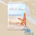 Nyári Esküvői Meghívó, Tengerparti meghívó, Nyári esküvő, Nyaralás, tengerpart, tenger, tengericsillag, kék, türkiz, Esküvő, Naptár, képeslap, album, Meghívó, ültetőkártya, köszönőajándék, Képeslap, levélpapír, Minőségi  Esküvői  Meghívó  * MEGHÍVÓ CSOMAG BORÍTÉKKAL: - Meghívó egy lap, egy oldalas: kb.: 14cm x..., Meska